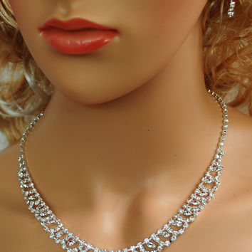 """Bridal Wedding Prom Pageant Crystal Drop Necklace and Earring Set, 18"""" with Adjustable Chain N1X67"""