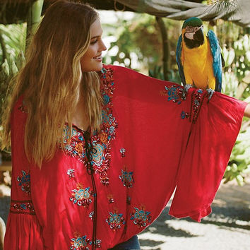 Spring Summer Neck Bohemian Embroidered Flare Sleeve Cotton Blouses Tassel Shirts