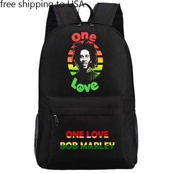 Bob Marley One Love Reggae Flag Backpack Rucksack Laptop Bag Schoolbag 18""