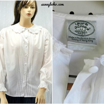 Vintage 70s / 80s Laura Ashley white cotton blouse L Edwardian style blouse embroidered lace pin tucked cotton shirt / top SunnyBohoVintage