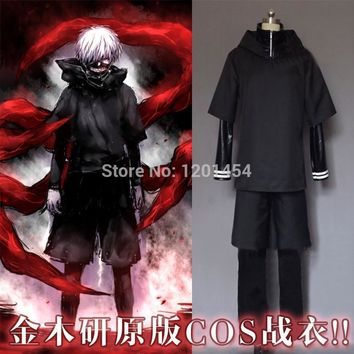 Cool Free shipping Tokyo Ghoul Ken Kaneki zipper hoodie coat+leather pant+shorts+long sleeve T shirt Cosplay CostumeAT_93_12