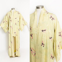 Vintage 1950s Kimono - Yellow Butterfly Printed Rayon Japanese Robe 50s