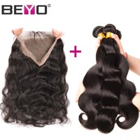 Beyo Hair 360 Lace Frontal With Bundle Brazilian Body Wave Non-Remy Human Hair Bundles 360 Frontal Closure With Baby Hair 4PCS