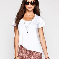 Life Clothing Co. Step Hem Womens Roll Cuff Tee White  In Sizes