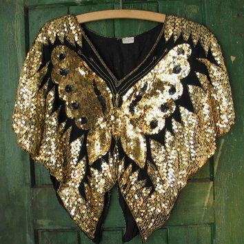 Vintage Sequin Blouse Awesome 1970's Sequined Butterfly Disco Top