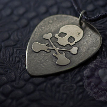 "Skull - Custom guitar pick necklace - large - ""Classy Pick"" brand - Halloween guitar gifts for music lowers"