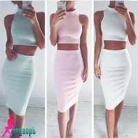 Gagaopt 2016 Women Dress Casual Women Two Piece Outfits Sleeveless Sexy Dress Crop Top 2 pieces set Bodycon Dress Solid Vestidos
