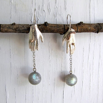 Sterling Silver Hamsa Hands Earrings, Labradorite Orbs Amulet Manos
