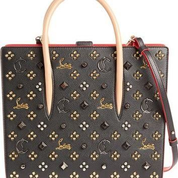 Christian Louboutin Medium Paloma Empire Spiked Calfskin Tote | Nordstrom
