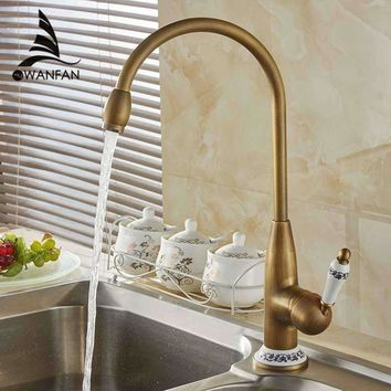 New Style Antique Brass Finish Faucet Kitchen Sink Basin Faucets Mixer Tap With Ceramic Hot And Cold  Free Shipping  4116F