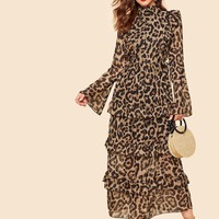 Half Placket Bell Sleeve Tiered Leopard Dress