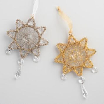 Wire Gem Snowflake Ornaments Set of 2