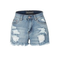 LE3NO Womens Vintage Medium Rise Distressed Destroyed Cut Off Denim shorts