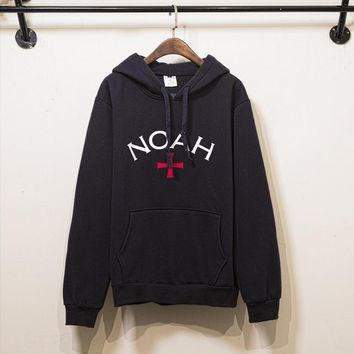 Autumn and winter men wave brand new NOAH cross hooded plus velvet sweater men and women couple hoodies trend Black