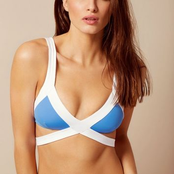 Mazzy Bikini Top White And Blue