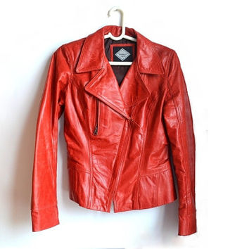Womens Red Leather Jacket Moto Biker Motorcycle Jackets for Women Medium Large M L