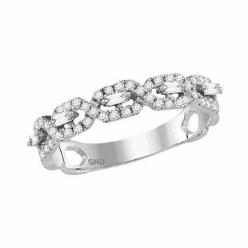 14kt White Gold Women's Round Diamond Twist Stackable Band Ring 1-3 Cttw - FREE Shipping (US/CAN)