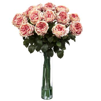 Silk Flowers -Fancy Pink Rose Flower Arrangement Artificial Plant