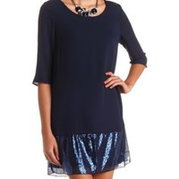 Sequin-Trimmed Chiffon Shift Dress by Charlotte Russe