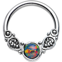"""14 Gauge 1/2"""" Synthetic Black Opal Tribal Fantasy Captive Ring   Body Candy Body Jewelry"""