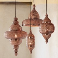 Moroccan Hanging Lamp Collection - Bright Copper | VivaTerra