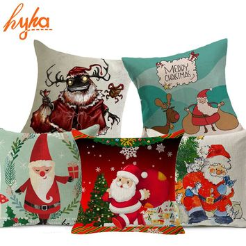 Hyha High Qulity Christmas Cushion Cover Santa Claus Presents Xams Gifts Home Decorative Pillows Cover for sofa Funny Elk