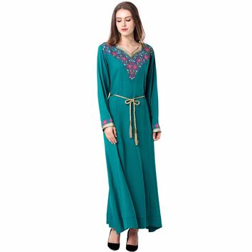 muslim women Kaftan caftan autumn Maxi Long sleeve long Dress moroccan clothing Islamic abaya embroidery Casual dress Robe 1626