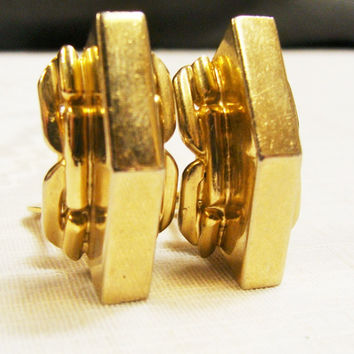 Vintage Chunky Gold Kafin Clip on Earrings