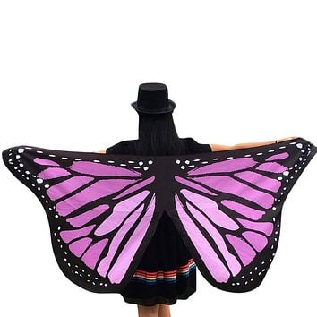 Special Design Butterfly Wings Printed Pashmina Women Soft Fabric Fairy Scarf Ladies Nymph Pixie Costume Accessory Femme D171