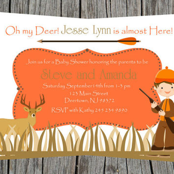 Baby boy Shower Hunting, deer orange and brown Invitation (ITEM 50)