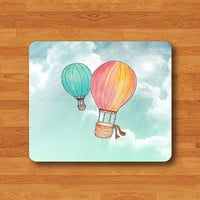 Balloon Watercolor Painting Sky Mouse Pad Black Drawing Big Air Bag Desk Deco Rubber Computer Work Pad MousePad Gift For Girl Personalized