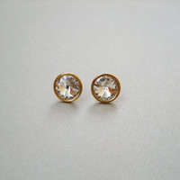 Gold plated sterling silver Swarovski  crystal rivoli round stud earrings, Clear crystal wedding studs