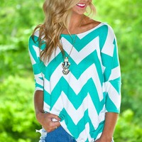 Chevron Shifting Top in Mint/White