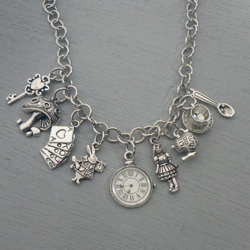 Alice In Wonderland Charm Bracelet White Rabbit Pocket Watch Tea Cup Fairy Tale Jewelry Adjustable Bracelet