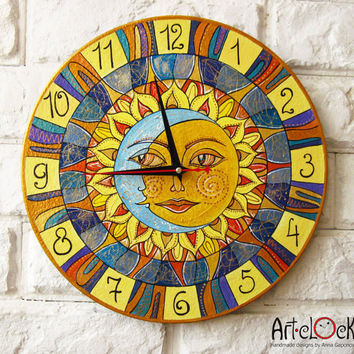 The Sun and Moon Wall Clock Home Decor for Children Baby Kid Boy Girl Nursery Playroom
