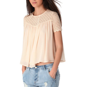 Coral swing top with floral lace insert