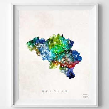 Belgium Map, City of Brussels, Watercolor, Europe, Home Town, Poster, Gift, Country, Nursery, Decor, Painting, world map [ SHIP WORLDWIDE ]
