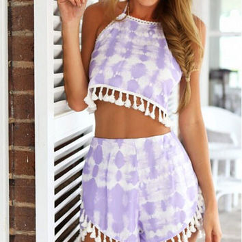 Spaghetti Straps Fringed Halter Printed Top And Short Pants