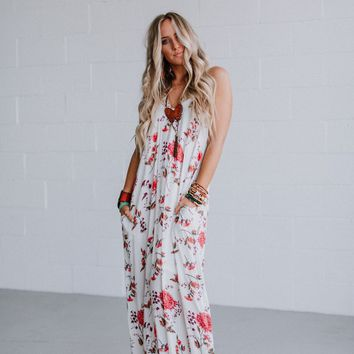 Kemi Floral Maxi Dress - Off White
