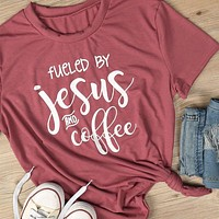 Fueled By Jesus And Coffee, T-Shirt