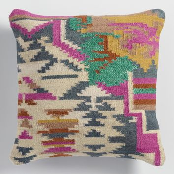 Silk and Wool Kilim Throw Pillow