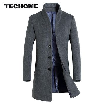 Men Wool & Blends Coat Slim Fit Men Middle Long Coats And Jackets Solid Color Male Manteau Homme Overcoat Winter Woolen Coat Me