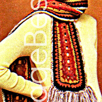 Big Fringe Scarf 1970s Vintage CROCHET Pattern Retro Instant Download Pdf Uh get ready to hear -Well Hello Darlin'- w this Attention Grabber