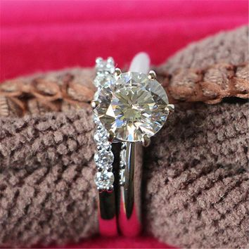 Sim. Lab Created 1CT Diamond Engagement Ring SterlingSilverWith 18k White Gold Plating