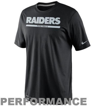 Nike Oakland Raiders Dri-FIT Legend Elite Font Sideline Performance T-Shirt - Black