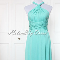 Bridesmaid Dress Infinity Dress short Convertible Dress Knee Length in Tiffany green mint green