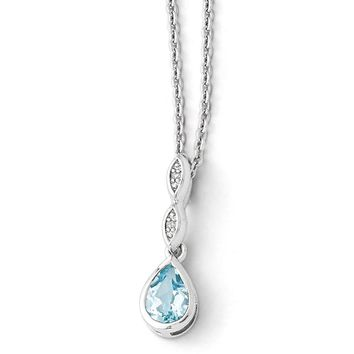 Blue Topaz Teardrop & Diamond Adj. Necklace in Rhodium Plated Silver