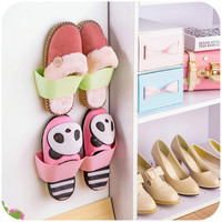 Creative Plastic Shoe Rack Storage Shelf Bathroom Wall-Mounted Storage Suspension Shelf For Home Convenience Wall Rack
