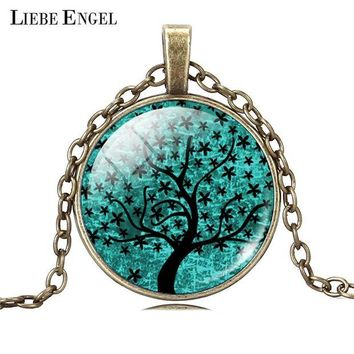 ac NOOW2 LIEBE ENGEL Life Tree Pendant Necklace Art Glass Cabochon Necklace Bronze Chain Vintage Choker Statement Necklace Women Jewelry