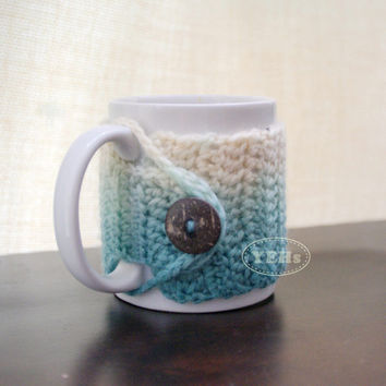 Ombre Crochet Mug Cozy, Cup Cozy, Coffee Cozy, Tea Cozy, Mug Cover with Hand Dye Yarn in Teal